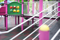 Playground perspective. Colorful toys from a children playground Stock Photography