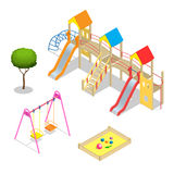 Playground. Playground slide theme elements. Isometric kids playground icons set. Flat 3d vector isometric high quality. Playground icon set Royalty Free Stock Images