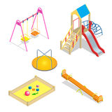 Playground. Playground slide theme elements. Isometric kids playground icons set. Flat 3d vector isometric high quality. Playground icon set Stock Images