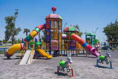 Playground with playing on it in the seaside Park of Baku city of the Azerbaijan Republic Royalty Free Stock Photography