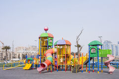 Playground with playing on it in the seaside Park of Baku city of the Azerbaijan Republic, March 15, 2017 Stock Image
