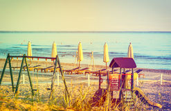 Playground at public domain beach of Jurmala Royalty Free Stock Images