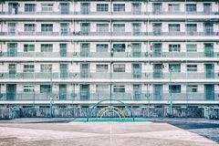 Playground in public house. Public housing in Hong Kong, playground area Stock Photo