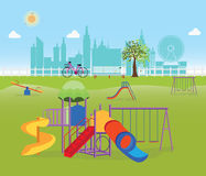 Playground in the Public park in the City vector illustration