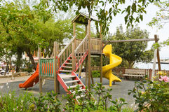 Playground in public park. Colorful playground for children. Royalty Free Stock Photography