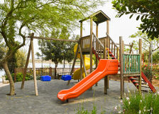 Playground in public park. Colorful playground for children. Stock Photo