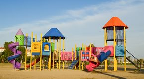 Playground in public park. Colorful playground for children. Royalty Free Stock Image