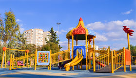 Playground in public park. Colorful playground for children. Stock Images