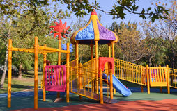 Playground in public park. Colorful playground for children. Royalty Free Stock Photo