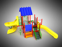Playground red yellow 3d render on gray background Stock Photo