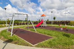 Playground on rest station, autobahn in Poland, Europe. New modern resting place and parking in the parking lot of an autobahn at a summer day. Playground on royalty free stock images