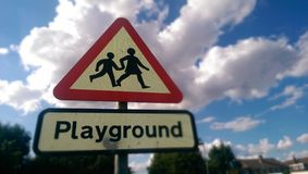 Playground road sign Royalty Free Stock Image