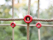 Playground rope crosses. Three playground rope crosses with ted rings Stock Photo
