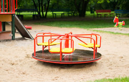 Playground roundabout. Spinning roundabout at a playground Stock Photo
