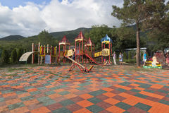 Playground in safari park resort town Gelendzhik, Krasnodar region, Russia Royalty Free Stock Photo