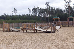 Playground with sand royalty free stock photography