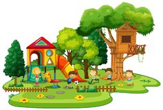 Playground scene with children playing. Illustration Stock Photography