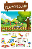 Playground scene with children and toys Royalty Free Stock Image