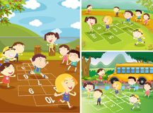 Playground scenes with children playing hopscotch. Illustration Royalty Free Stock Images