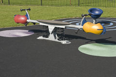 Playground see-saw in residential area Stock Photo