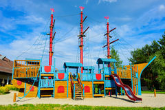 Playground ship. A ship colorful children playground equipment in Austria Royalty Free Stock Image