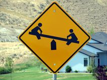 Playground Sign. A playground sign in a residential neighborhood Stock Photos