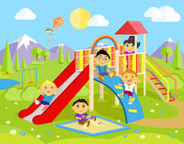 Playground with Slide and Children Royalty Free Stock Photos