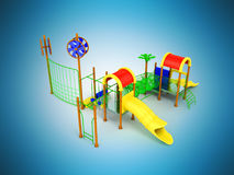 Playground slide for children red yellow 3d render on blue backg Royalty Free Stock Photo