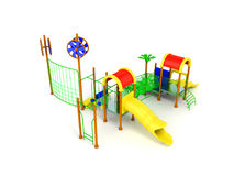 Playground slide for children red yellow 3d render on white back Royalty Free Stock Images