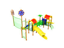 Playground slide for children red yellow 3d render on white back. Ground no shadow Royalty Free Stock Photos