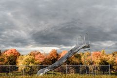Playground slide. 3d illustration of a rusty playground slide Royalty Free Stock Photo