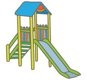 Playground slide. Free standing playground straight slide with roof Royalty Free Stock Images