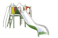 Playground Slide Isolated On White Stock Photos