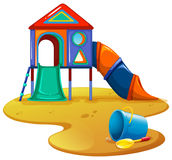 Playground with slide and toys Stock Images
