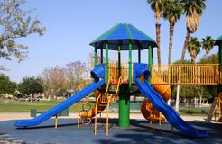 Playground slides. Blue slides in playground Royalty Free Stock Photo