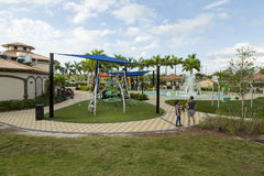 Playground with slides and climbing frame Stock Image