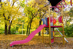 Playground slides in the park Royalty Free Stock Images