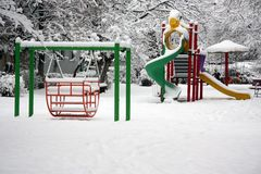 Playground with snow Royalty Free Stock Photo