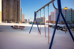 Playground in snow Royalty Free Stock Photo