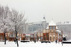 Playground in the snow Royalty Free Stock Photography