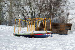 Playground snowy winters Royalty Free Stock Images