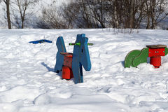 Playground snowy winters Stock Photography