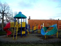 Playground. A playground on a somewhat cloudy day royalty free stock photo