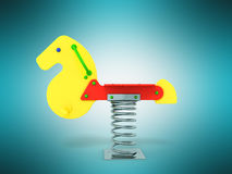 Playground spring horse 3d rendering on blue background. Playground spring horse 3d rendering on blue Royalty Free Stock Photos