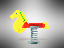Playground spring horse 3d rendering on gray background. Playground spring horse 3d rendering on gray Stock Photos