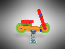 Playground spring motorcycle 3d render on gray background. Playground spring motorcycle 3d render on gray Stock Images