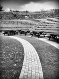 Playground square. Artistic look in black and white. Royalty Free Stock Photos