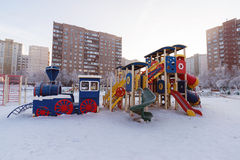 Playground structure outdoors in winter Royalty Free Stock Photography