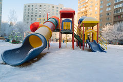 Playground structure outdoors in winter Stock Photo