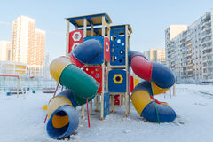 Playground structure outdoors in winter Royalty Free Stock Photos